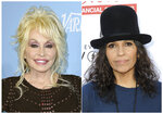 This combination photo shows Dolly Parton at the 69th Primetime Emmy Awards Variety and Women in Film pre-Emmy celebration in Los Angeles on Sept. 15, 2017, left, and Linda Perry at