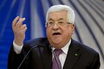 FILE - In this Jan. 22, 2020 file photo, Palestinian President Mahmoud Abbas speaks after a meeting of the Palestinian leadership in the West Bank city of Ramallah. Palestinian President Mahmoud Abbas flew to Jordan by helicopter on Monday ahead of an official visit to Germany on which he will undergo a health exam, officials said. (AP Photo/Majdi Mohammed, File)