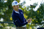 Harris English, of the United States, plays his shot from the second tee during the third round of the US Open Golf Championship, Saturday, Sept. 19, 2020, in Mamaroneck, N.Y. (AP Photo/Charles Krupa)