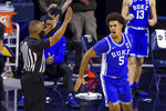Duke's Jaemyn Brakefield (5) celebrates after hitting a 3-pointer during the second half of an NCAA college basketball game against Notre Dame on Wednesday, Dec. 16, 2020, in South Bend, Ind. Duke won 75-65. (AP Photo/Robert Franklin)