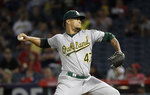 Oakland Athletics starting pitcher Frankie Montas throws to a Los Angeles Angels batter during the first inning of a baseball game Wednesday, Sept. 25, 2019, in Anaheim, Calif. (AP Photo/Marcio Jose Sanchez)