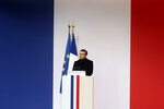 French President Emmanuel Macron delivers his speech during a ceremony for the 13 French soldiers killed in Mali, Monday Dec.2, 2019 at the Invalides monument in Paris. In its biggest military funeral in decades, France is honoring 13 soldiers killed when their helicopters collided over Mali while on a mission fighting extremists affiliated with the Islamic State group. (AP Photo/Thibault Camus, Pool)