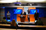 Secretary of State Mike Pompeo speaks during a press conference at the State Department, Wednesday, June 24, 2020 in Washington, as State Department spokeswoman Morgan Ortagus, left, and State Department Coordinator for Counterterrorism, Ambassador Nathan Sales, right, look on. (Mandel Ngan/Pool via AP)