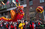 Revelers participate during the Lunar New Year parade in Chinatown in New York, Sunday, Feb. 9, 2020. (AP Photo/Craig Ruttle)