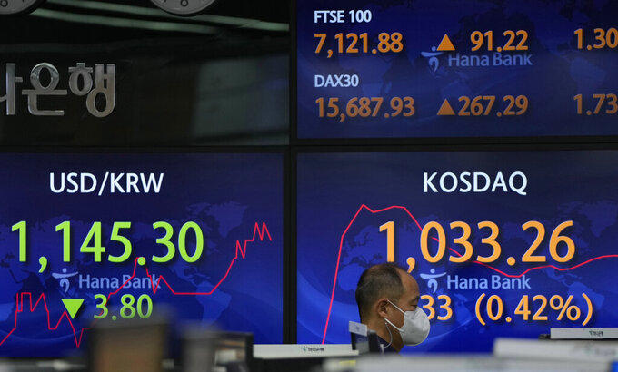 A currency trader walks by the screens showing the Korean Securities Dealers Automated Quotations (KOSDAQ), right, and the foreign exchange rate at the foreign exchange dealing room in Seoul, South Korea, Monday, July 12, 2021. Asian stock markets rose Monday after Wall Street hit a high despite jitters about the spread of the coronavirus's delta variant as investors looked ahead to U.S. earnings reports. (AP Photo/Lee Jin-man)
