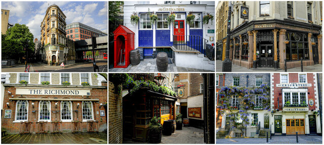 A combo of recent images and filed on Friday May 15, 2020 of pubs that are closed due to the coronavirus pandemic. Britain's 47,000 or so pubs were told to close their doors on March 20, three days before Prime Minister Boris Johnson announced the full lockdown. The pub holds a special place in British culture, unmatched anywhere else in the world. They are key building blocks of a shared identity and shared connections from the tiniest hamlet in cider country in southwest England, to the more whisky-focused havens in Scotland's Shetland Islands. (AP Photo/Matt Dunham)