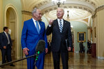President Joe Biden speaks to members of the media as he stands with Senate Majority Leader Chuck Schumer, D-N.Y., at the Capitol in Washington, Wednesday, July 14, 2021.  (AP Photo/Andrew Harnik)