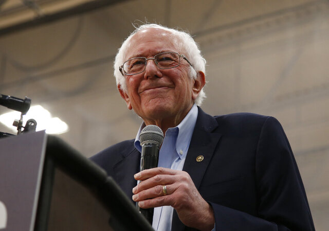 Democratic presidential candidate Sen. Bernie Sanders I-Vt., smiles during his campaign event in Carson City, Nev., Sunday, Feb. 16, 2020. (AP Photo/Rich Pedroncelli)