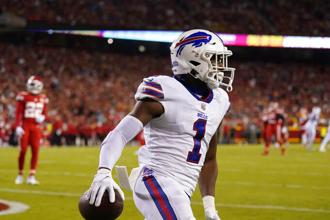 Buffalo Bills wide receiver Emmanuel Sanders (1) celebrates after scoring during the first half of an NFL football game against the Kansas City Chiefs Sunday, Oct. 10, 2021, in Kansas City, Mo. (AP Photo/Charlie Riedel)