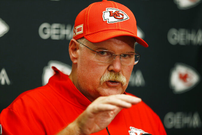 Kansas City Chiefs head coach Andy Reid answers questions during a news conference at the end of an NFL football game against the Oakland Raiders Sunday, Sept. 15, 2019, in Oakland, Calif. Kansas City won the game 28-10. (AP Photo/D. Ross Cameron)