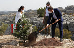 French President Emmanuel Macron plants a cedar with members of the NGO Jouzour Loubnan in Jaj, near Beirut, Tuesday Sept. 1, 2020. French President Emmanuel Macron returned to Lebanon on Monday, a country in the midst of an unprecedented crisis, for a two-day visit and a schedule packed with events and political talks aimed at charting a way out for the country. (Gonzalo Fuentes/Pool via AP)