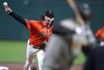San Francisco Giants pitcher Jeff Samardzija works against the San Diego Padres during the first inning of the second game of a baseball doubleheader Friday, Sept. 25, 2020, in San Francisco. (AP Photo/Tony Avelar)