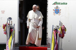 Pope Francis arrives at Military Air Terminal of Don Muang Airport, Wednesday, Nov. 20, 2019, in Bangkok, Thailand. (AP Photo/Gregorio Borgia)