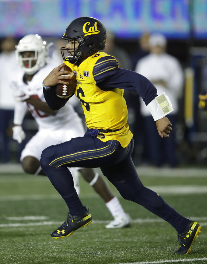 California quarterback Devon Modster rushes against Washington State in the second half of an NCAA college football game Saturday, Nov. 9, 2019, in Berkeley, Calif. (AP Photo/Ben Margot)