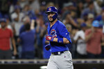 Chicago Cubs' Kris Bryant reacts after hitting a two-run home run during the eighth inning of the team's baseball game against the San Diego Padres on Tuesday, Sept. 10, 2019, in San Diego. (AP Photo/Gregory Bull)