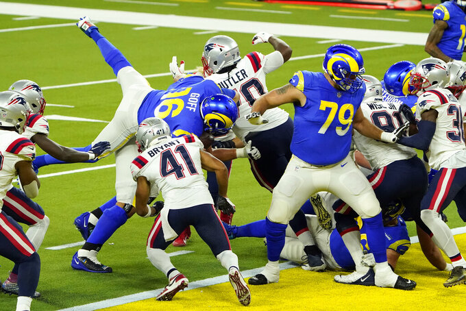 Los Angeles Rams quarterback Jared Goff (16) lunges into the end zone for a touchdown during the first half of an NFL football game against the New England Patriots Thursday, Dec. 10, 2020, in Inglewood, Calif. (AP Photo/Jae C. Hong)