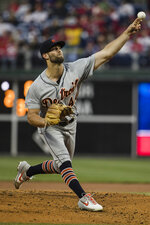 Detroit Tigers' Daniel Norris pitches during the first inning of a baseball game against the Philadelphia Phillies, Wednesday, May 1, 2019, in Philadelphia. (AP Photo/Matt Rourke)