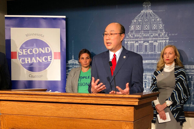 Ramsey County Attorney John Choi speaks in support of restoring voting rights for felons at a news conference at the state Capitol in St. Paul, Minn., Wednesday, Feb. 19, 2020. The news conference was called by the Minnesota Second Chance Coalition to promote changes in Minnesota's criminal justice system to make it easier for people to turn their lives around. (AP Photo/Steve Karnowski)