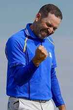 Team Europe's Sergio Garcia reacts after winning their foursome match the Ryder Cup at the Whistling Straits Golf Course Friday, Sept. 24, 2021, in Sheboygan, Wis. (AP Photo/Ashley Landis)