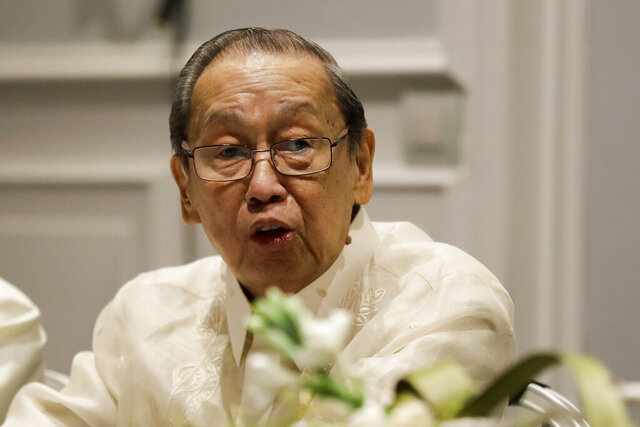 FILE - In this Jan. 19, 2017, file photo, Communist Party of the Philippines leader Jose Maria Sison delivers his speech during the formal opening of the Philippines peace talks in Rome. Communist guerrillas in the Philippines said Wednesday, March 25, 2020, they would observe a ceasefire in compliance with the U.N. chief's call for a global halt in armed clashes during the coronavirus pandemic. New People's Army guerrillas have been ordered to stop assaults and shift to a defensive position from Thursday to April 15, the Communist Party of the Philippines said in a statement. (AP Photo/Andrew Medichini, File)