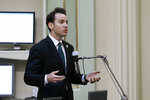 In this photo taken Monday, June 10, 2020, Assemblyman Kevin Kiley, R-Rocklin, speaks at the Capitol in Sacramento, Calif. An appellate judge, on Wednesday, June 17, stayed a lower court's order barring California Gov. Gavin Newsom from issuing directives that might conflict with state law. Kiley and Assemblyman James Gallagher, R-Yuba City, sued Newsom saying he had exceeded his authority. (AP Photo/Rich Pedroncelli)