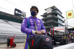 Pietro Fittipaldi, of Brazil, waits in the pits during testing at the Indianapolis Motor Speedway, Thursday, April 8, 2021, in Indianapolis. (AP Photo/Darron Cummings)