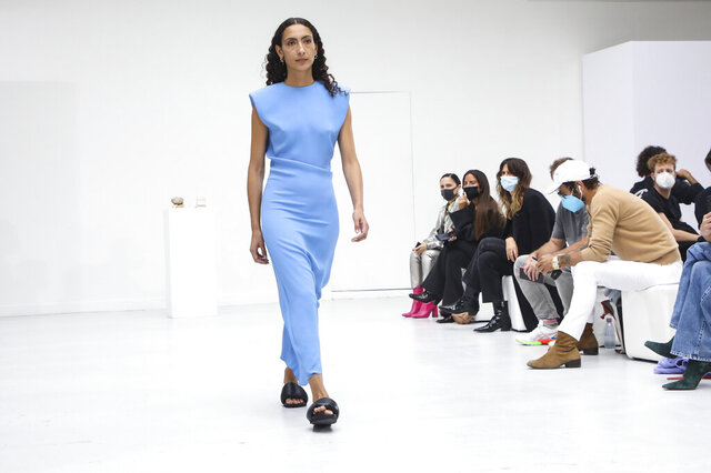 A model wears a creation for the Gauchere Spring-Summer 2021 fashion collection, Wednesday, Sept. 30, 2020, during Paris fashion week. (Photo by Vianney Le Caer/Invision/AP)