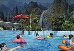 People swim in an indoor swimming pool in Pyongyang, North Korea, on Wednesday, March 13, 2019. (AP Photo/Dita Alangkara)
