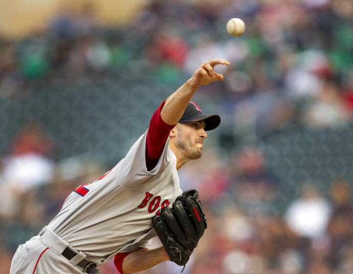 Boson Red Sox pitcher Rick Porcello throws to the Minnesota Twins in the first inning of a baseball game Monday, June 17, 2019 in Minneapolis. (AP Photo/Andy Clayton- King)