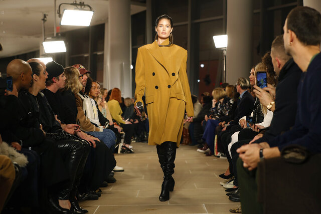 The Proenza Schouler Fall Winter collection 2020 is modeled, Monday, Feb. 10, 2020, during Fashion Week in New York. (AP Photo/Kathy Willens)