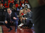 Georgia coach Tom Crean yells out from in front of the Georgia bench during the team's NCAA college basketball game against Kennesaw State in Athens, Ga., Tuesday, Nov. 27, 2018. (Jenn Finch/Athens Banner-Herald via AP)