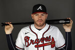 This is a 2020 photo of Freddie Freeman of the Atlanta Braves baseball team. Atlanta Braves four-time All-Star Freddie Freeman, reliever Will Smith and two teammates have tested positive for the coronavirus. Manager Brian Snitker says the four players, including right-hander Touki Toussaint and infielder Pete Kozma, agreed to have the team disclose their positive tests. (AP Photo/John Bazemore)
