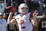 Syracuse's Eric Dungey (2) looks to pass against Wake Forest in the first half of an NCAA college football game in Charlotte, N.C., Saturday, Nov. 3, 2018. (AP Photo/Chuck Burton)