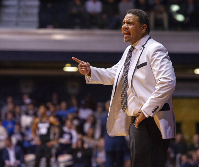 Providence head coach Ed Cooley during the first half of an NCAA college basketball game against Butler, Tuesday, Feb. 26, 2019, in Indianapolis. Providence won 73-67. (AP Photo/Doug McSchooler)