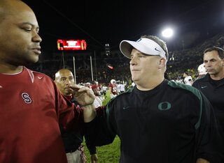 Stanford head coach David Shaw, Oregon head coach Chip Kelly