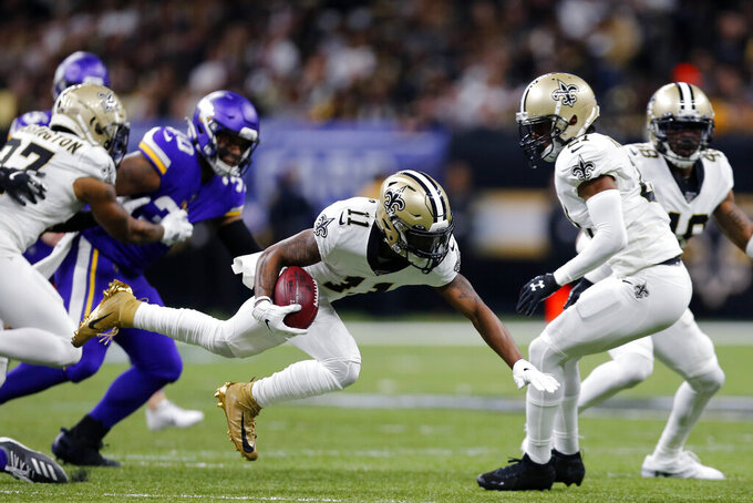 New Orleans Saints returner Deonte Harris (11) carries in the first half of an NFL wild-card playoff football game against the Minnesota Vikings, Sunday, Jan. 5, 2020, in New Orleans. (AP Photo/Brett Duke)