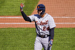 Detroit Tigers' Miguel Cabrera gestures as he walks to the dugout after hitting a sacrifice fly off Pittsburgh Pirates starting pitcher Bryse Wilson, driving in a run, during the sixth inning of a baseball game in Pittsburgh, Monday, Sept. 6, 2021. (AP Photo/Gene J. Puskar)