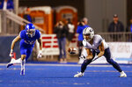 BYU wide receiver Neil Pau'u (84) makes a reception against Boise State during the first half of an NCAA college football game Saturday, Nov. 3, 2018, in Boise, Idaho. (AP Photo/Steve Conner)