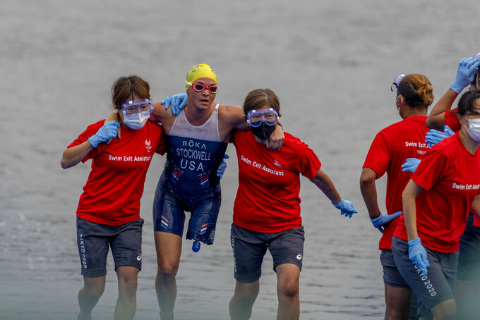 Melissa Stockwell competes in the Women's Triathlon PTS2 at Odaiba Marine Park in the 2020 Paralympics in Tokyo, Saturday, Aug. 28, 2021. (AP Photo/Emilio Morenatti)