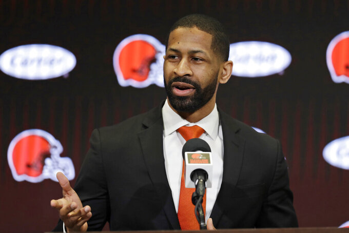 Cleveland Browns general manager Andrew Berry speaks during a news conference at the NFL football team's training facility, Wednesday, Feb. 5, 2020, in Berea, Ohio. Berry returned to the team after a one-year stint in the Philadelphia Eagles' front office. Berry was the Browns' vice president of player personnel from 2016-18. (AP Photo/Tony Dejak)