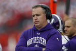 Northwestern head coach Pat Fitzgerald reacts during the first half of an NCAA college football game Saturday, Sept. 28, 2019, in Madison, Wis. Wisconsin won 24-15. (AP Photo/Andy Manis)