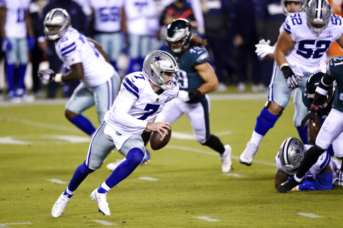 Dallas Cowboys' Ben DiNucci plays during the first half of an NFL football game against the Philadelphia Eagles, Sunday, Nov. 1, 2020, in Philadelphia. (AP Photo/Derik Hamilton)