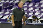 TCU head coach Jamie Dixon instructs the bench in the second half of an NCAA college basketball game against Oklahoma in Fort Worth, Texas, Sunday, Dec. 6, 2020. (AP Photo/Tony Gutierrez)