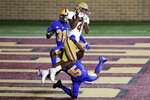 Boston College wide receiver Zay Flowers (4) makes the touchdown reception over Pittsburgh defensive back Jason Pinnock (15) in overtime during an NCAA college football game, Saturday, Oct. 10, 2020, in Boston. (AP Photo/Michael Dwyer)