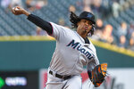 Miami Marlins pitcher Jose Urena throws to a Detroit Tigers batter during the first inning of a baseball game in Detroit, Wednesday, May 22, 2019. (AP Photo/Paul Sancya)