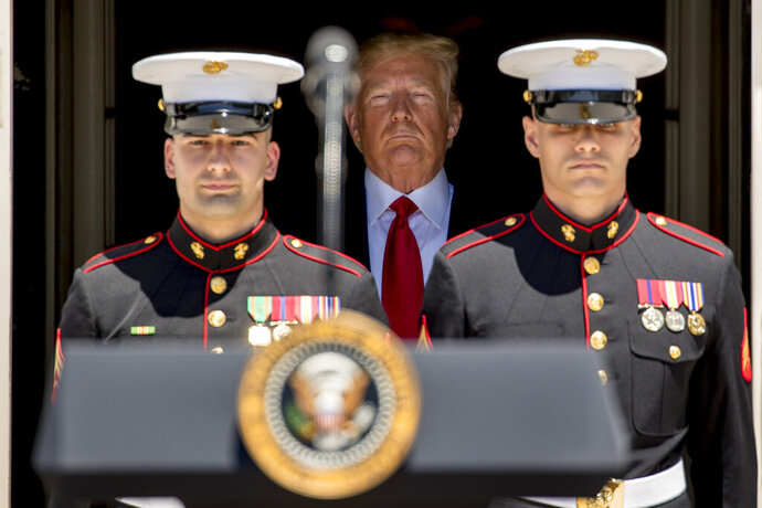 President Donald Trump arrives at a Made in America showcase on the South Lawn of the White House in Washington, Monday, July 15, 2019. (AP Photo/Andrew Harnik)