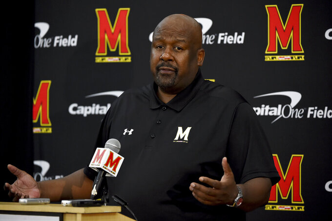 FILE - In this Aug. 2, 2019, file photo, Maryland head coach Mike Locksley addresses the media during a news conference before NCAA college football practice, in College Park, Md. Maryland's impressive start under first-year coach Mike Locksley has been wiped out by two straight ugly defeats, leaving the team scrambling before a pivotal trip to Rutgers. (AP Photo/Will Newton, File)