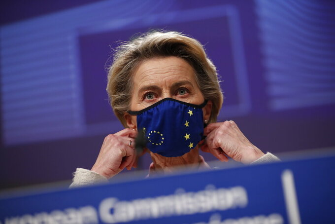 FILE - In this Thursday, Dec. 24, 2020 file photo, European Commission President Ursula von der Leyen prepares to address a media conference at EU headquarters in Brussels. In a sign of goodwill to rebuild trans-Atlantic relations, the European Union and the United States have decided to suspend tariffs used in the longstanding Airbus-Boeing dispute for a four-month period, EU Commission President Ursula von der Leyen said on Friday, March 5, 2021 after a remote conversation with U.S. President Joe Biden. (AP Photo/Francisco Seco, file)
