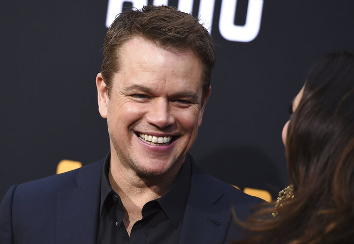 Matt Damon arrives at the Los Angeles premiere of