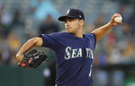 Seattle Mariners pitcher Marco Gonzales works against the Oakland Athletics in the first inning of a baseball game Tuesday, July 16, 2019, in Oakland, Calif. (AP Photo/Ben Margot)